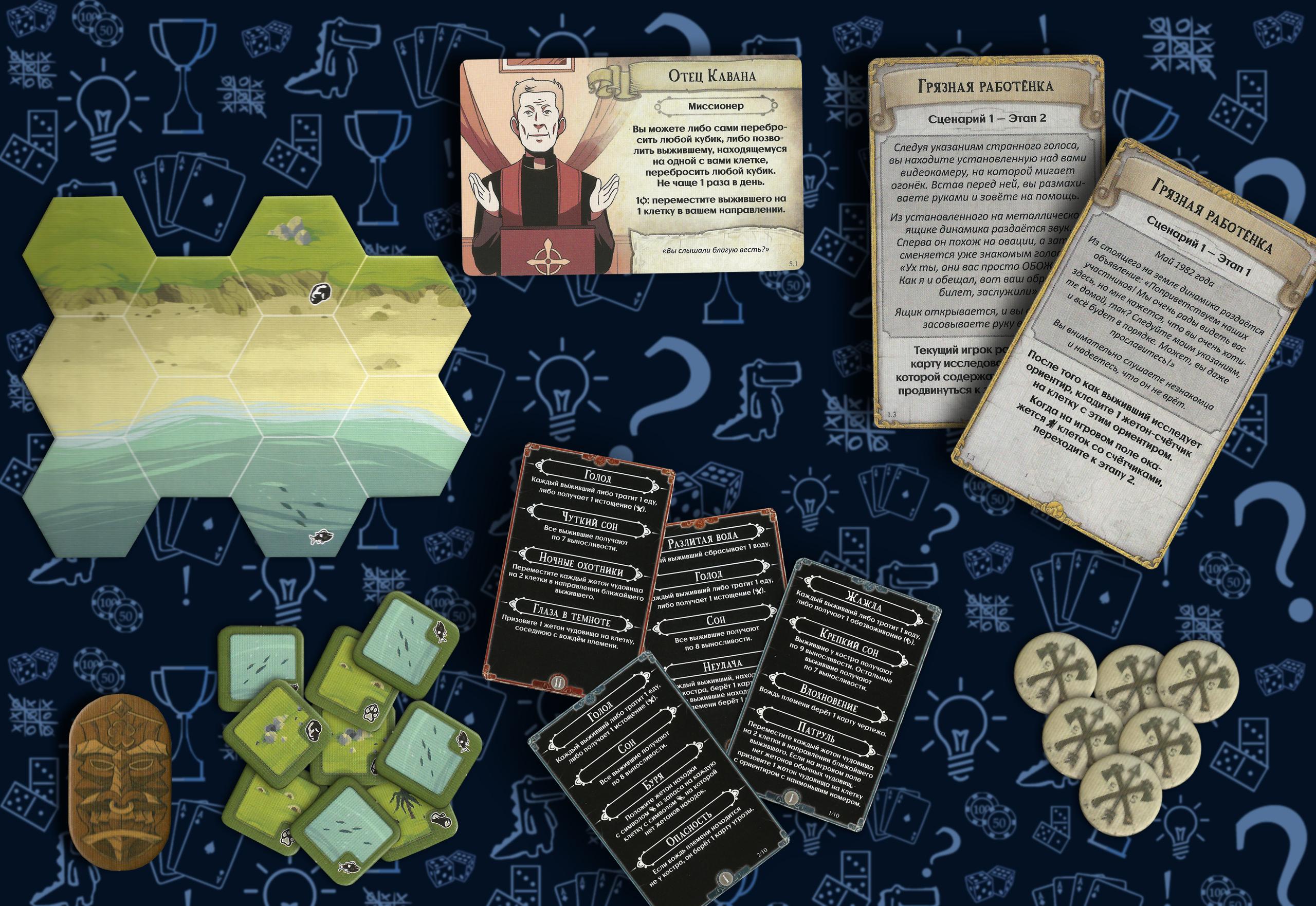 Часть содержимого настольной игры «Остаться в живых: неизведанные земли»