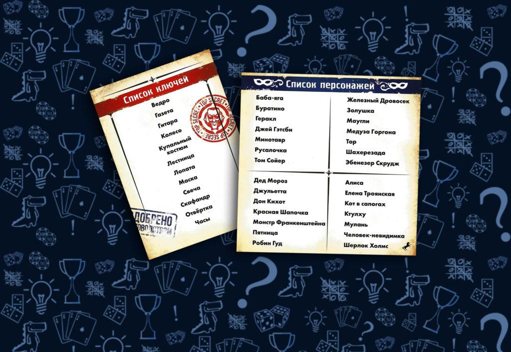 Настольная игра Spycon слова ключи и список персонажей (rolethedice.ru Бросьте Кости)